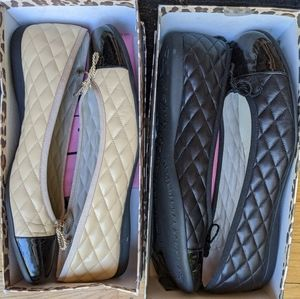 Fs/ny size 10 quilted leather nude black flats